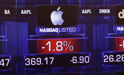 Apple na Nasdaq; fot. Bloomberg