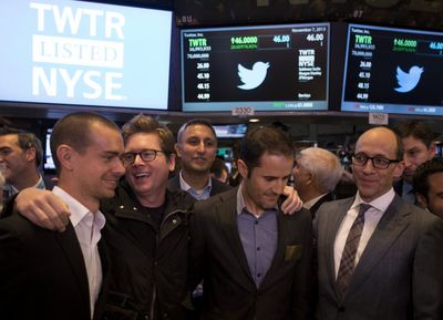 "Jack Dorsey, co-founder of Twitter Inc. and founder and chief executive officer of Square, from left, Christopher Isaac ""Biz"" Stone, co-founder of Twitter, Evan Williams, co-founder of Twitter, and Richard ""Dick"" Costolo, chief executive officer of Twitter (fot. Bloomberg)"
